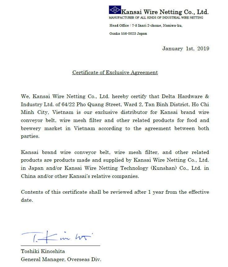 Lưới Inox Kansai - Chứng nhận đại lý độc quyền phân phối