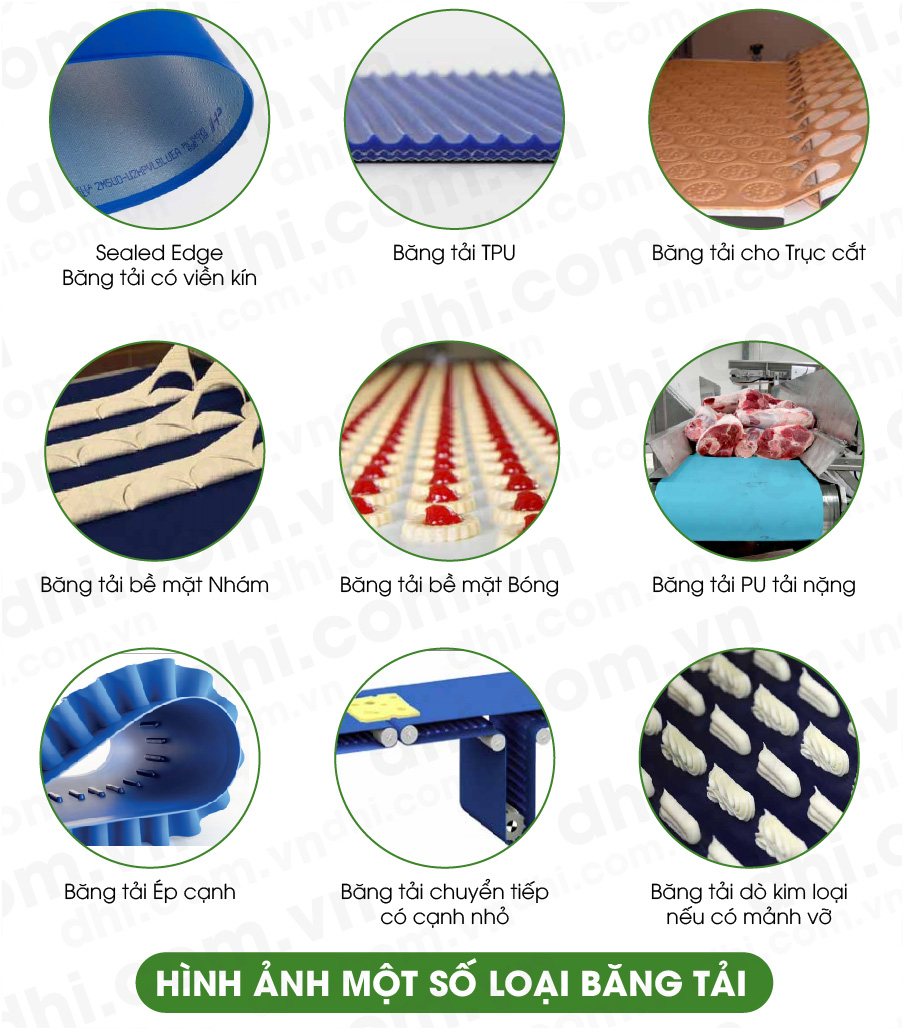 Hình ảnh các loại bề mặt băng tải thực phẩm